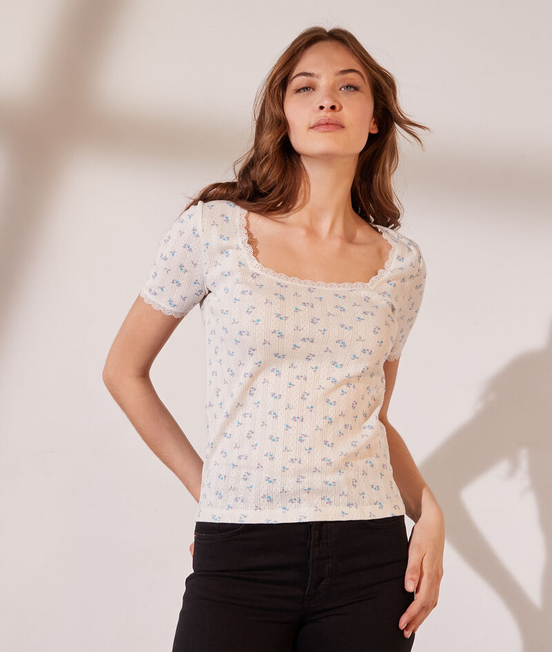T-shirt pointelle en coton bio détails en dentelle