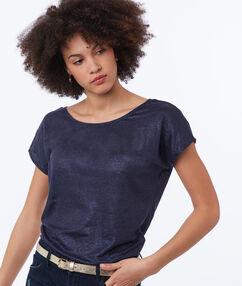 T-shirt en lin irisé bleu marine.