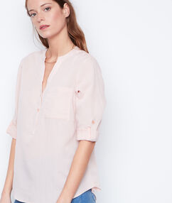 Chemise manches 3/4 col v nude.