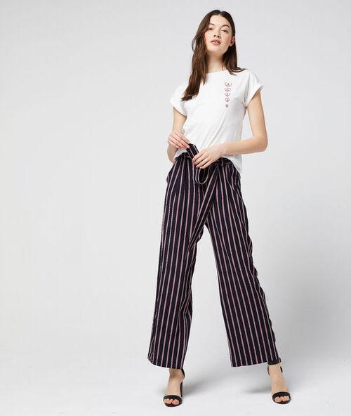 Pantalon large ceinturé à rayures