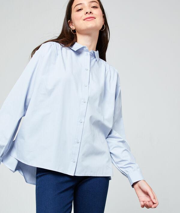 Chemise unie en coton - BLAIRE - 34 - Bleu - Femme - Etam
