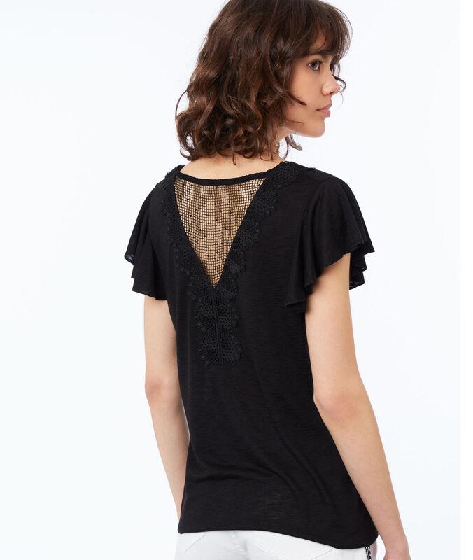 T-shirt col v à guipures noir.