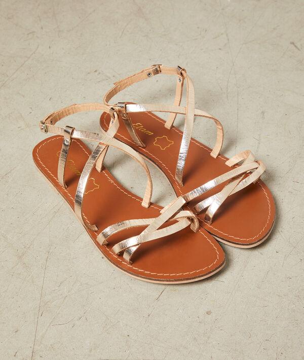 Sandales dorées en cuir