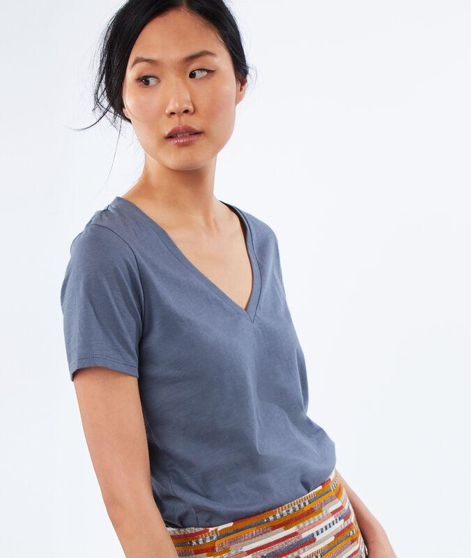 T-shirt col v 100% coton gris ardoise.