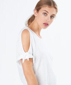 T-shirt simple épaules ouvertes blanc.