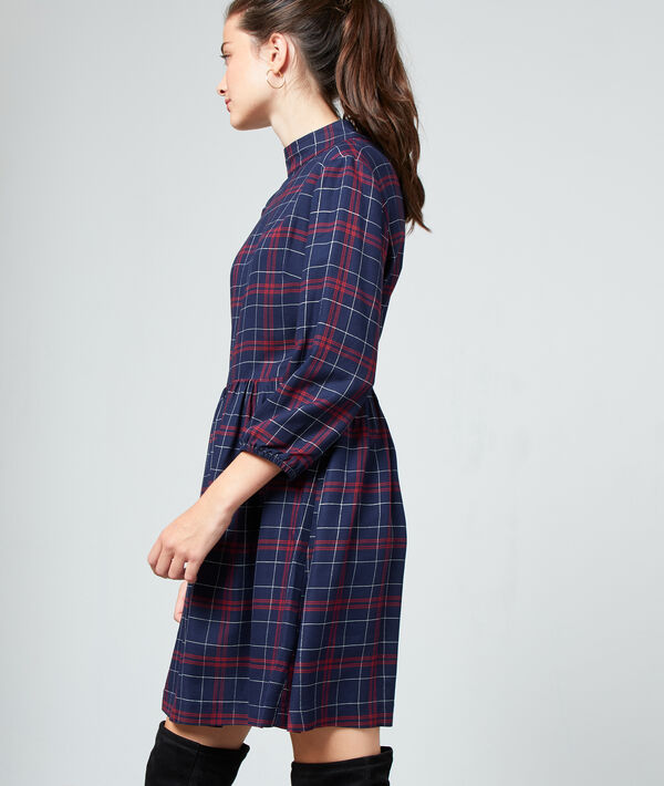 Robe dos noué à carreaux - PORTOBELLO - 34 - Bleu - Femme - Etam