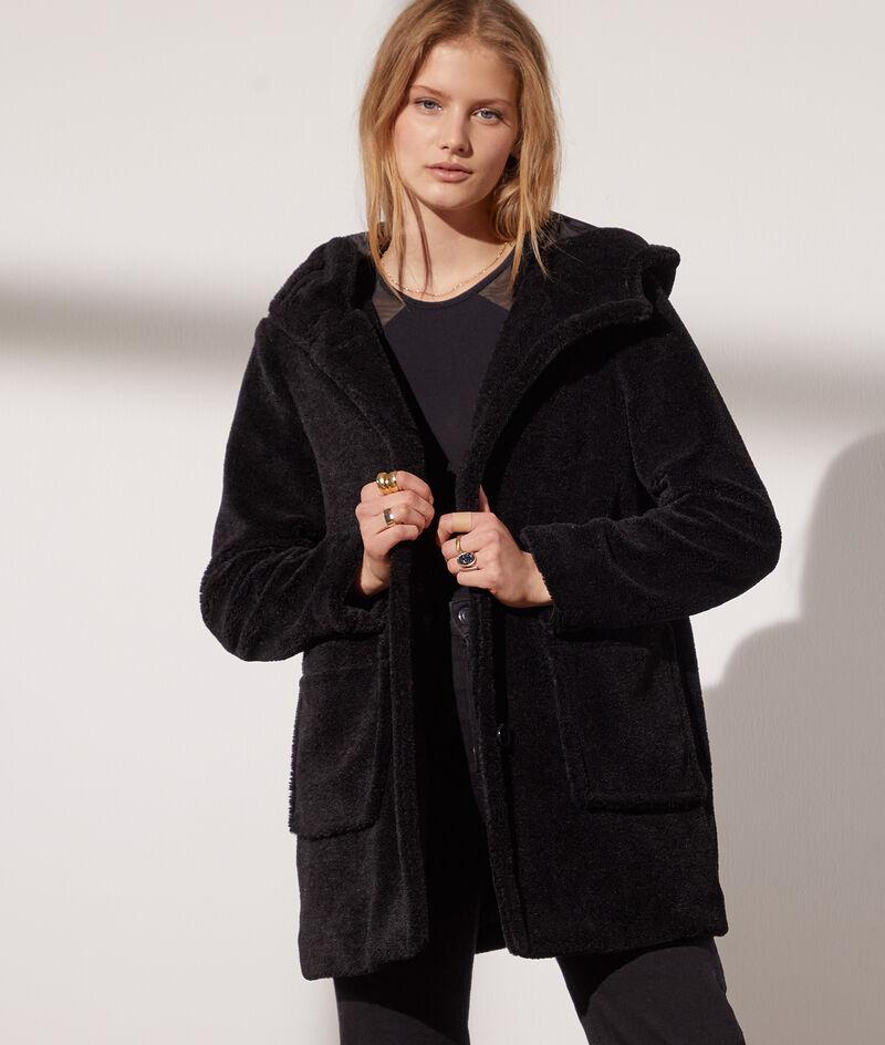 Manteau à capuche peau lainée