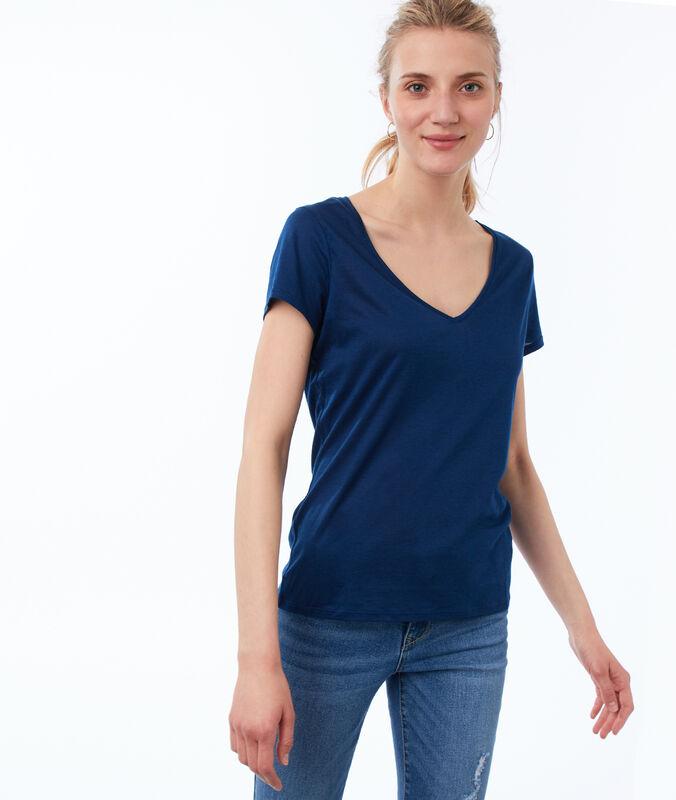 T-shirt uni col v bleu moonlight.