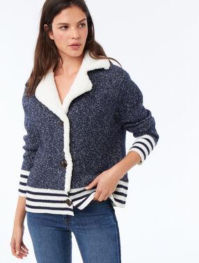 Veste avec col effet peau lainée marine.