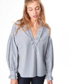 Chemise col v rayée blue.