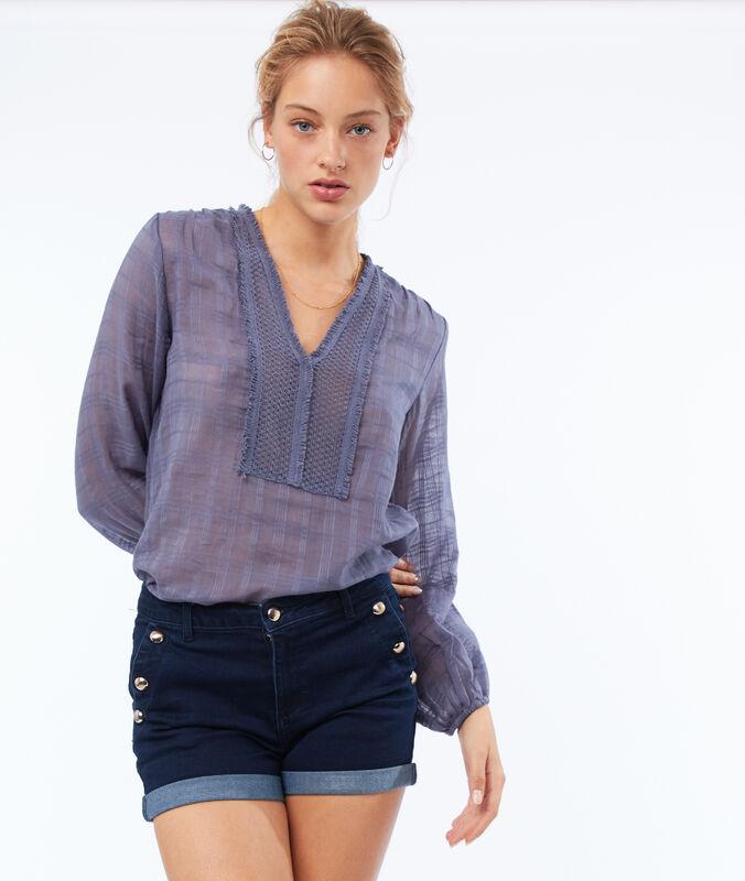 Short jean poches boutonnées bleu foncé délavé.