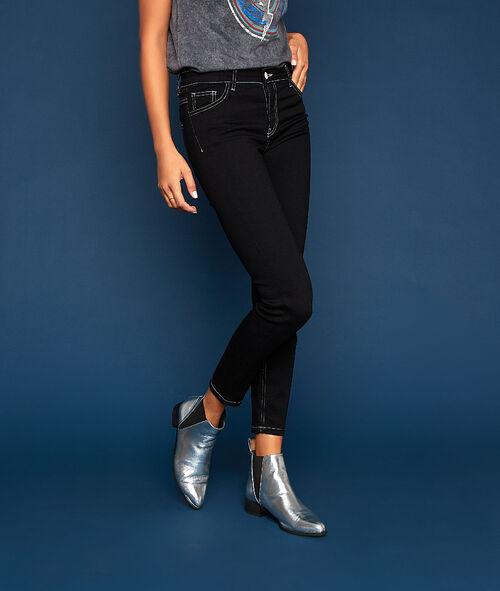 Jean skinny à coutures contrastées