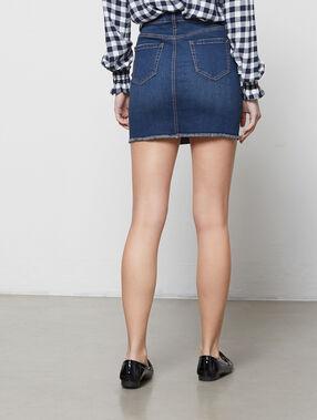 Jupe en jean boutonnée stone.