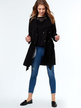 Trench 3/4 col tailleur noir.