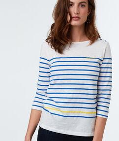 T-shirt à rayures bleu.