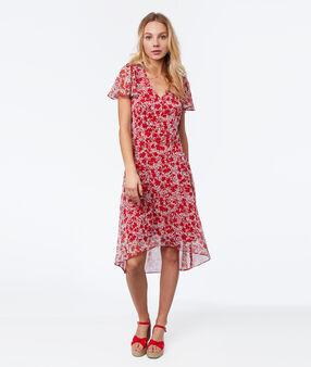 Robe imprimée fleurs rouge.