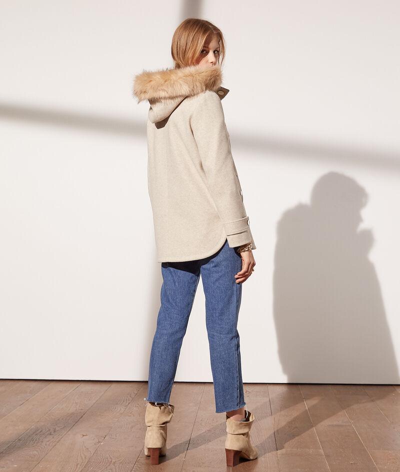 Manteau à capuche fausse fourrure
