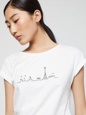 T-shirt imprimé à broderies 100% coton ecru.