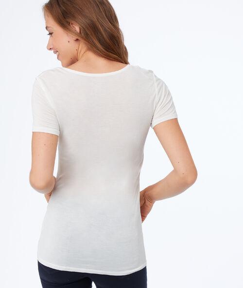 T-shirt col V avec détails dentelle