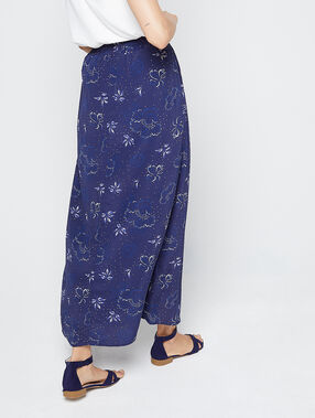 Jupe longue à imprimé floral marine.