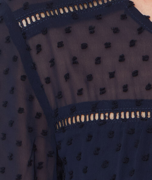 Robe manches 3/4 plumetis