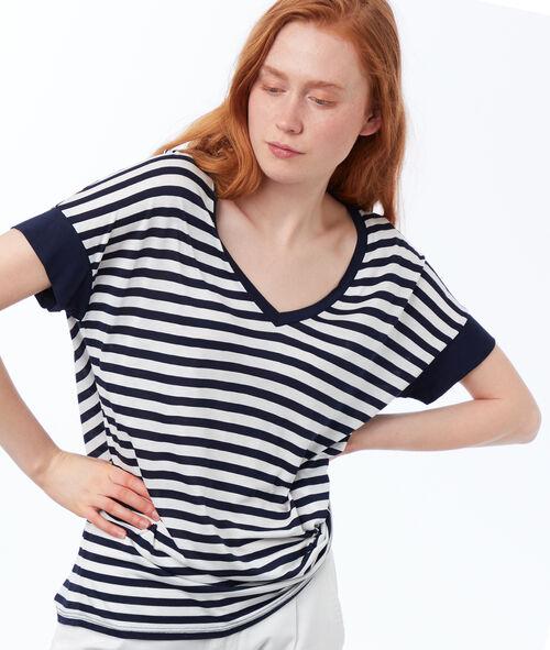 T-shirt col V à rayures