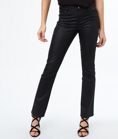 Pantalon droit effet enduit noir.