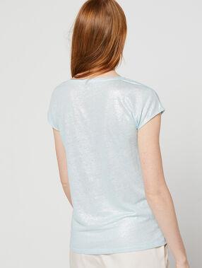 T-shirt métallisé en lin bleu ciel.