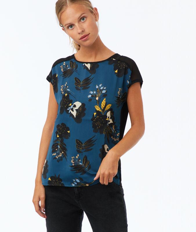 Top à imprimé fleuri bleu canard.