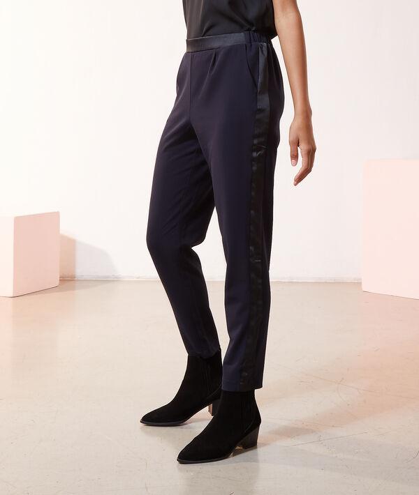 Pantalon slim côtés satinés