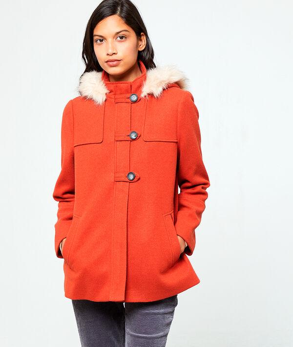 Manteau à capuche en fausse fourrure