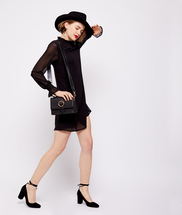 Robe col montant manches transparentes