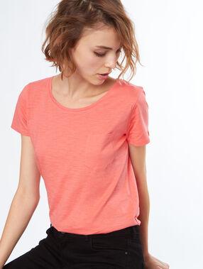 T-shirt col rond en coton abricot.