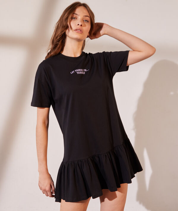 """Robe t-shirt avec volants """"Let yourself be..."""""""