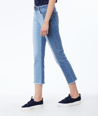 Jean droit bleu délavé moyen.