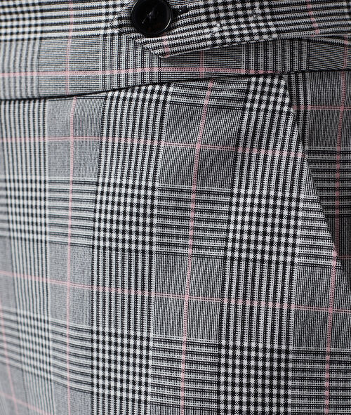 Pantalon cigarette à motifs Prince de Galles