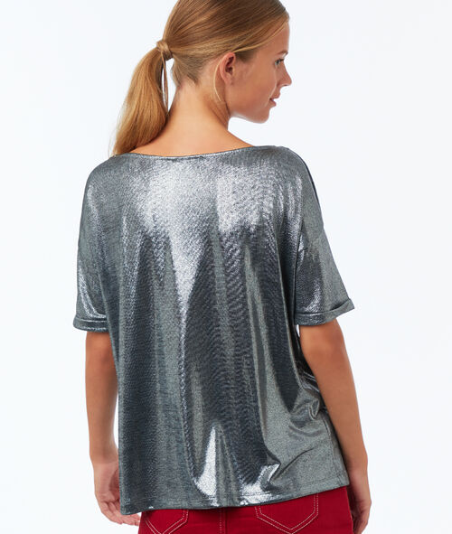 T-shirt col bateau à fils métallisés