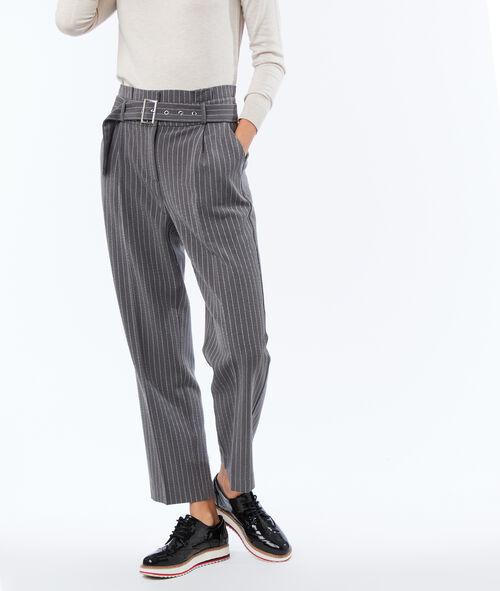 Pantalon taille haute ceinturé