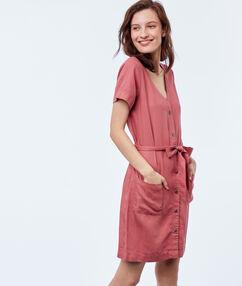 Robe chemise avec ceinture en tencel® vieux rose.