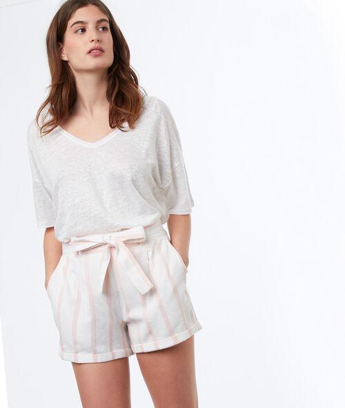 Short avec ceinture en coton