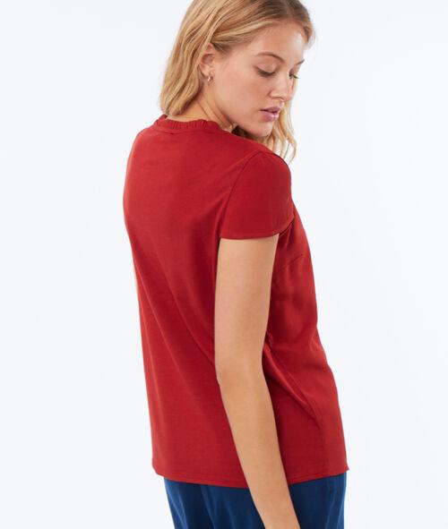 T-shirt col tunisien à guipures