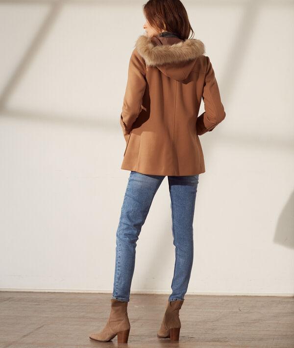 Manteau à capuche fourrure synthétique