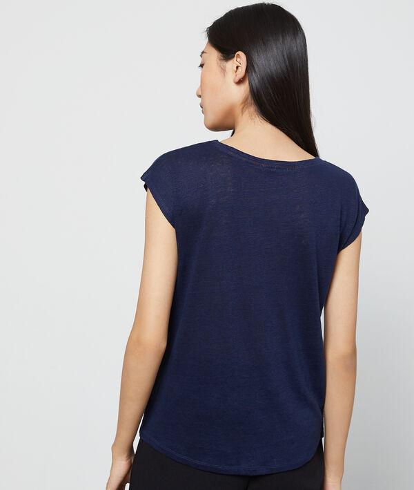T-shirt col v 100% lin
