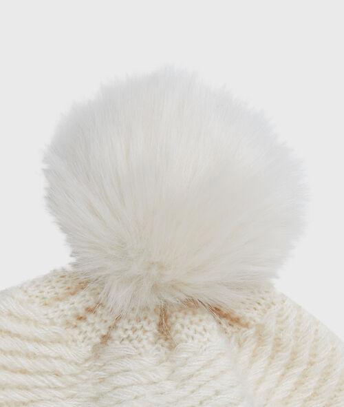 Bonnet à pompon en fausse fourrure