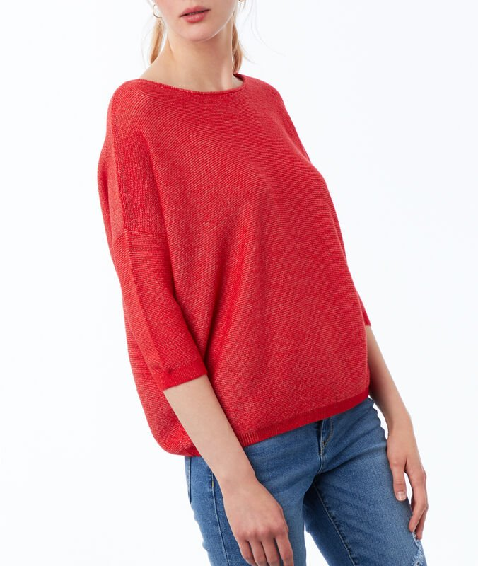 Pull manches 3/4 col bateau rouge coquelicot.