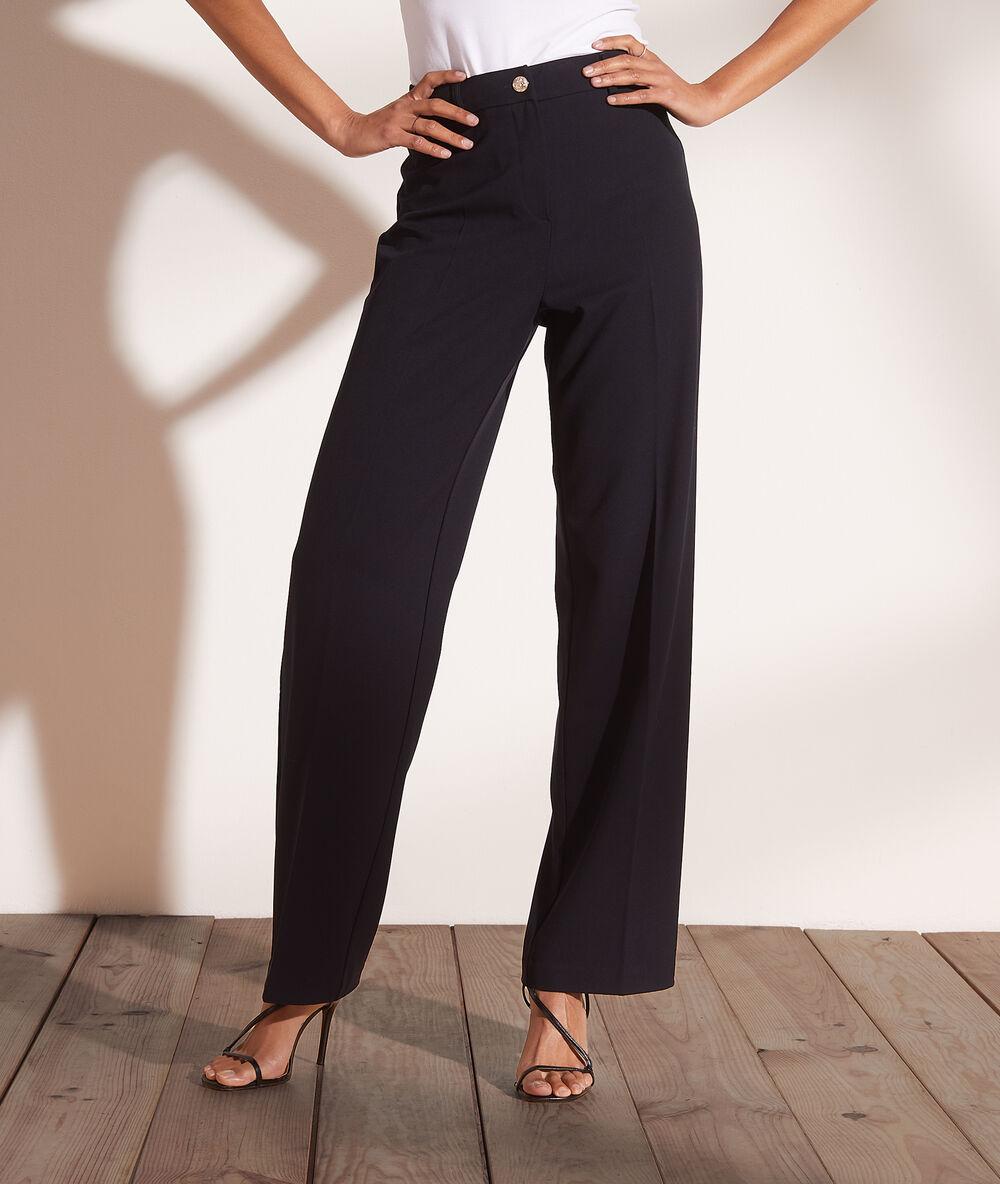 Pantalon large à pinces - Officy - 34 - Bleu - Femme - Etam