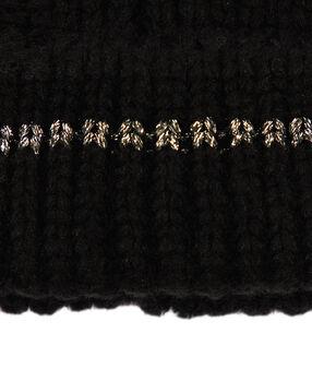 Bonnet à fil métallisé noir.