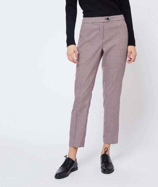 Pantalon droit à motifs pied de poule