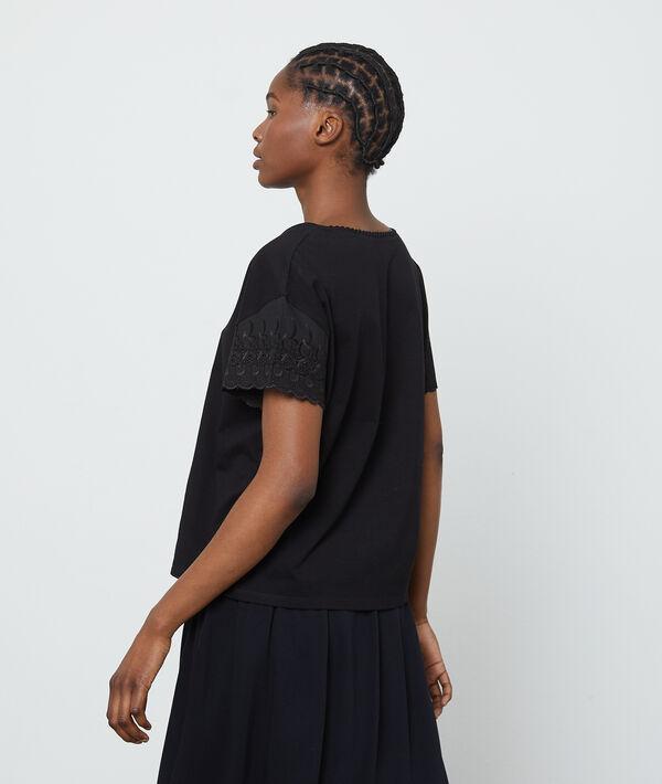 T-shirt en coton à manches dentelle