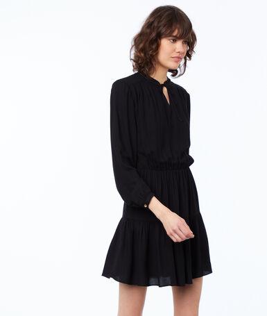 Robe unie manches longues noir.
